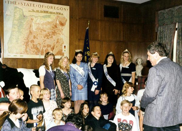 Rep. Tim Josi with students and Oregon's Dairy Princess Ambassadors_1997