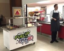 Ontario Culinary Workshop, Garrett with yogurt station and culinary lunch