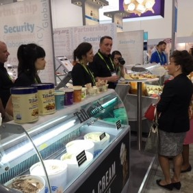Acting US Ambassador to Singapore Stephanie Sytak-Ramnath (right) learns about cheese and ice cream from the West Coast.